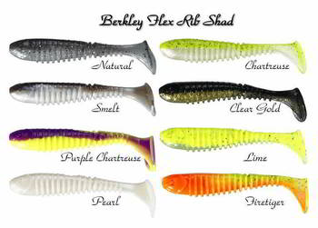 Приманка Berkley Flex Rib Shad 9cm LIME, 1286147
